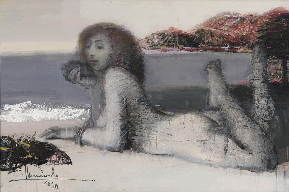 2. Лежащая на берегу. 2010. Бумага, авторская техника. 80х120