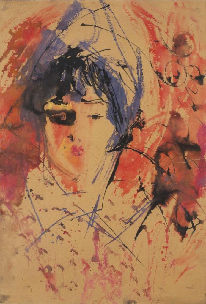 8. Женский портрет. 1966. Бумага, смешанная техника. 67х50