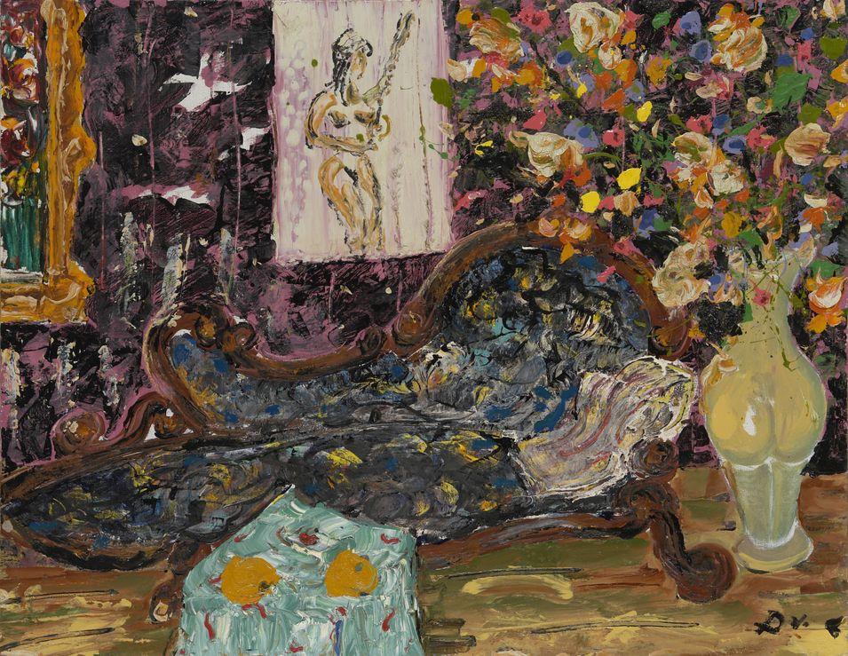 10. Мандарины. Девушка играет на мандолине (Диван и ваза). 1991. Холст, масло. 100х80