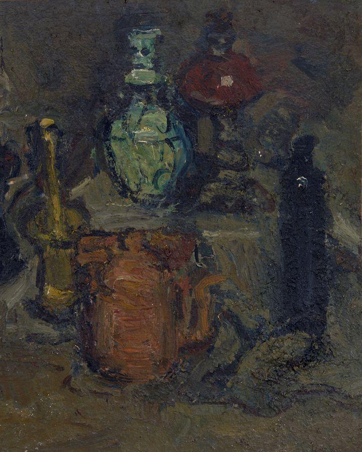 15. Натюрморт со старинной посудой. 1984. Оргалит, масло. 71х57