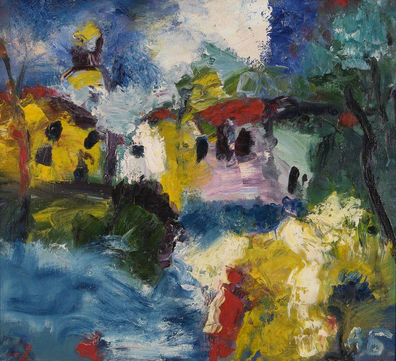 23. Городской пейзаж (Колокольня, скрытая домами). 1998. Холст, масло. 63х70