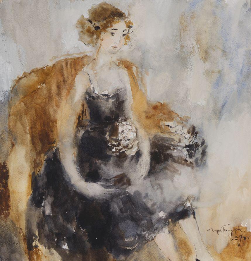 Бальное платье. 2012. Бумага, акварель. 45х43