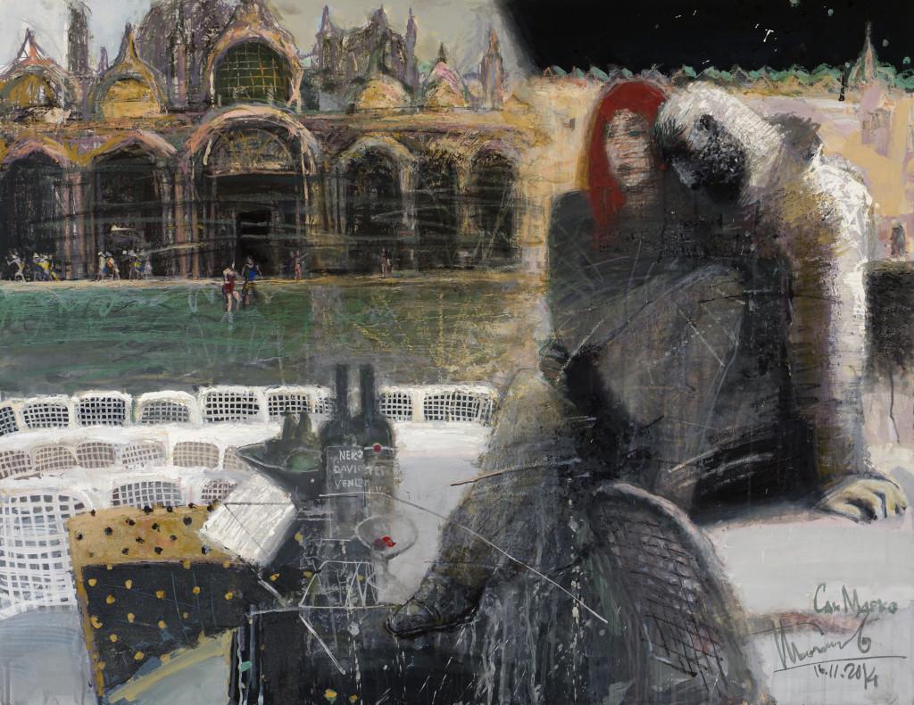 Венеция. Наводнение ( Сан-Марко). 2014. Бумага, смешанная техника. 100х130