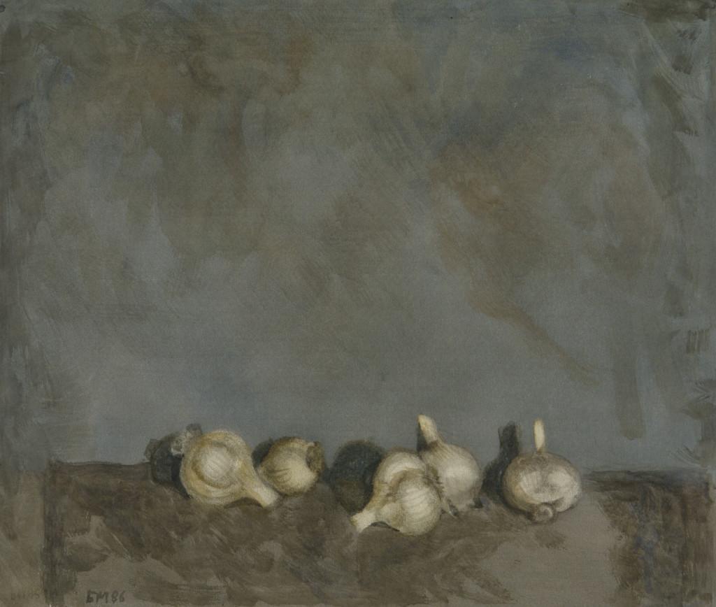 Натюрморт с чесноком. 1986. Бумага, акварель. 46х53,5