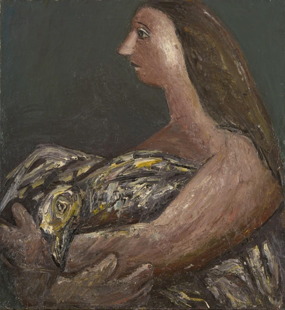Женщина с мёртвой птицей. 1992. Холст, масло. 130х120