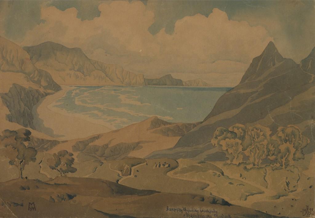 Коктебельский берег. 17 июня 1928. Бумага, акварель. 25,3х35,7